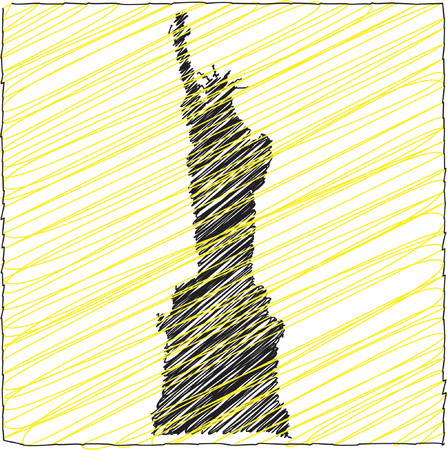 scribbled: Statue of Liberty scribbled silhouette - vector illustration