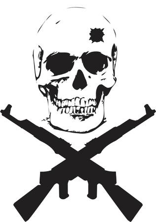 Cráneo y Guns - ilustración vectorial