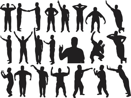 Lots of man silhouettes - vector illustration Vector