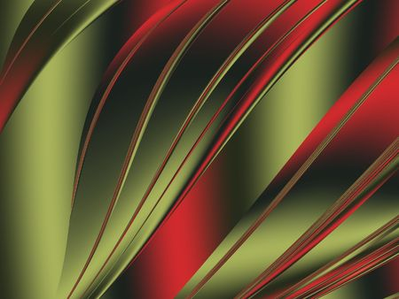 Gold & red abstract waves - fractal illustration Stock Photo