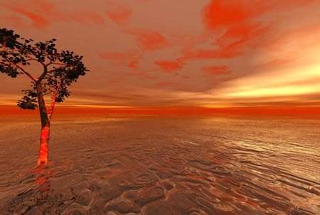 Red alien ocean with solitary tree - digital illustration Stock Photo