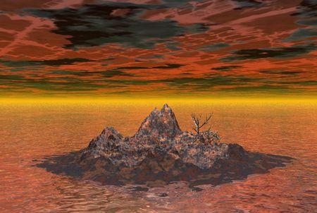 horrific: Rusty island in heavily polluted ocean - digital illustration
