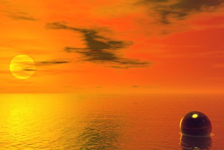 Fiery sunset on a calm ocean with glass sphere floating - digital illustration