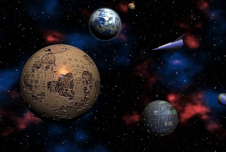 Space Odyssey on distant alien planets - digital illustration
