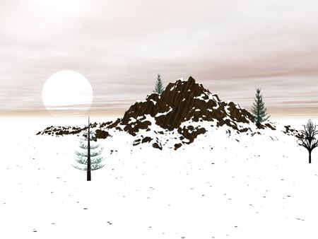 Winter landscape with distant mountain - digital illustration Stock Photo
