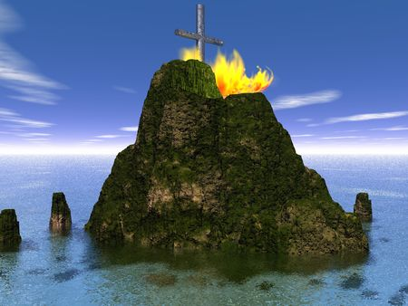 Burning metal cross on an island - digital illustration illustration