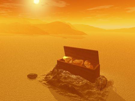 Treasure chest in the desert - digital illustration Stock Photo