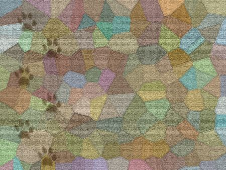 pieds sales: Mosa�que de tapis avec piste sale chien - illustration num�rique