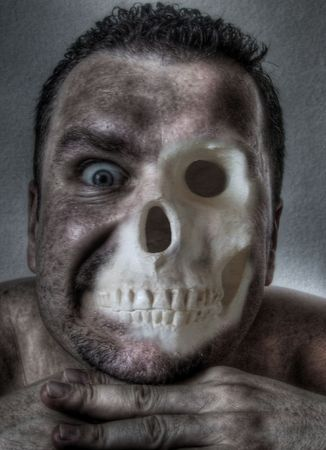 Macabre face,half flesh half bones - digital illustration Stock Photo