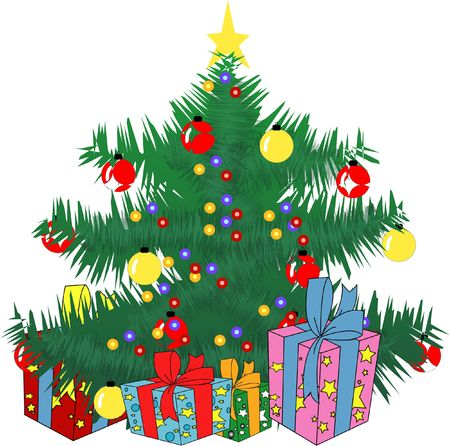 Christmas Tree With Lights And Gifts - Vector