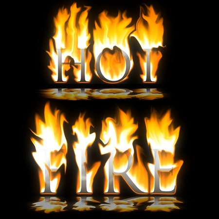 smoulder: Text Hot & Fire blazing on black background