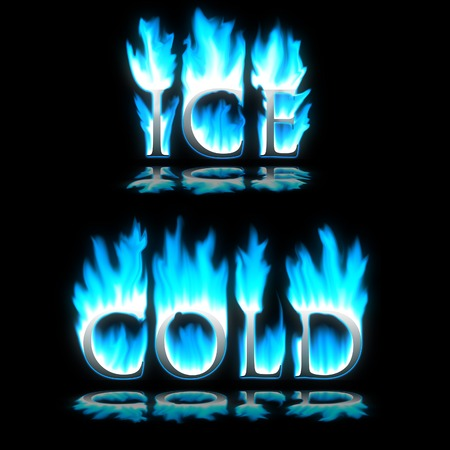 sizzle: Ice & Cold text in blue freezing fire Stock Photo