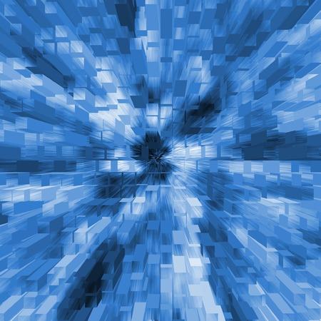 Blue blocks in 3-d background - digital illustration