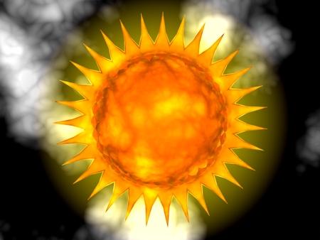 Abstract hot sun with fiery corona - digital illustration