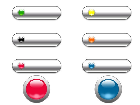 Chrome and glass web buttons - digital illustration Stock Photo
