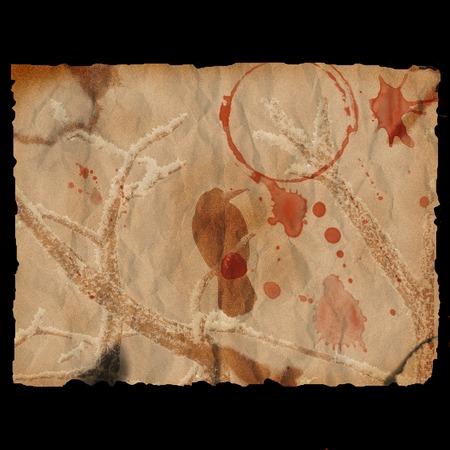 Ancient burned paper with raven - digital illustration
