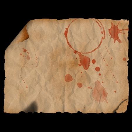 Ancient burned paper with corner curl - digital illustration