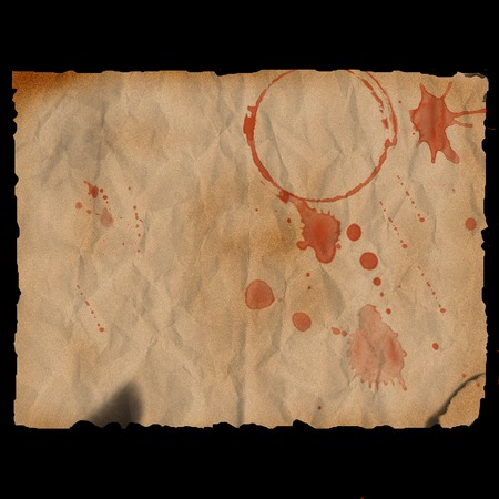 Ancient burned paper with blood stains - digital illustration Stock Photo