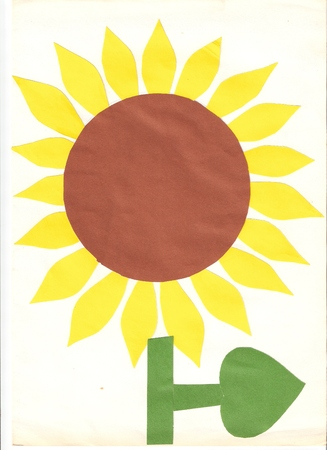 Kids Sunflower made of paper cuts Stock Photo