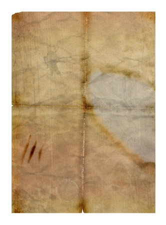 Old grungy folded paper with water stains - digital illustration
