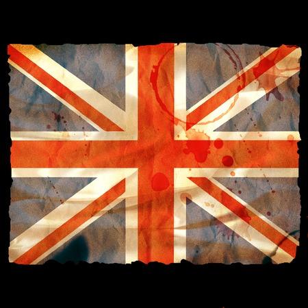 decaying: Old burned paper Union Jack - digital illustration Stock Photo