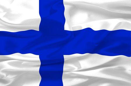 Finland flag made of silk - digital illustration