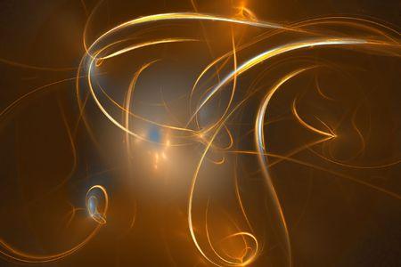Golden space streaks - abstract digital illustration