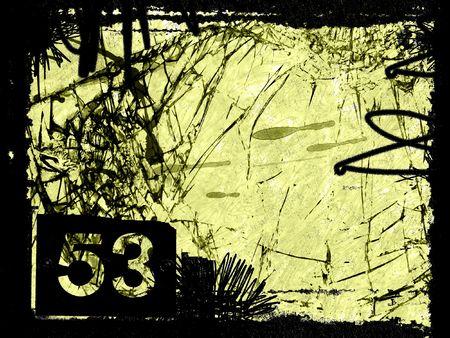 Grungy number 53 - digital illustration