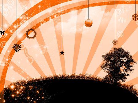 Sunset in abstract landscape - digital illustration illustration