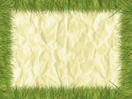 Grass border on paper - digital illustration Stock Photo