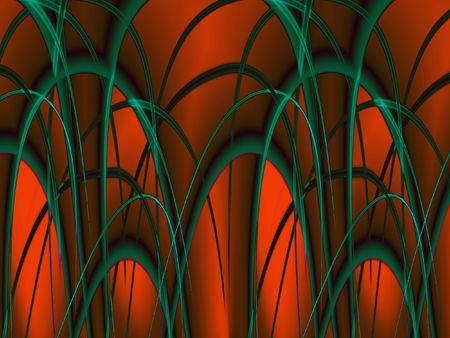 Glowing red arcs - digital illustration