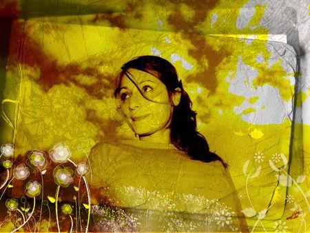 Grungy portrait - digital illustration Stock Photo