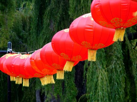 Chinese red lanterns to celebrate the Chinese New Year Stock Photo - 833442