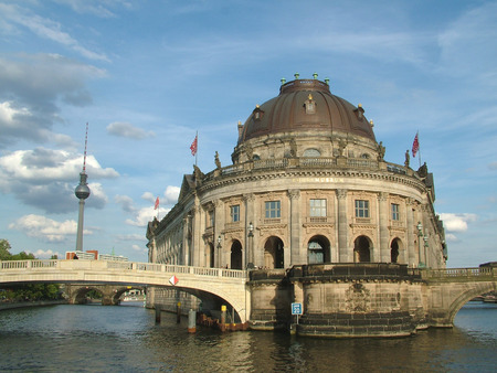 bode: The Majestic Bode Museum on the Spree River in Berlin Stock Photo