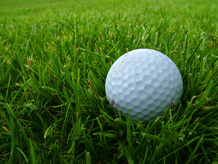 A golf ball cushioned in long grass in the rough Stock Photo - 1710780