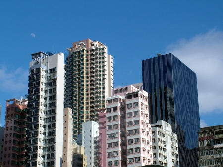 Closely built City Apartments and Office Skyscrapers, Hong Kong photo