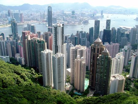 View from Peak Hill of Hong Kong City photo