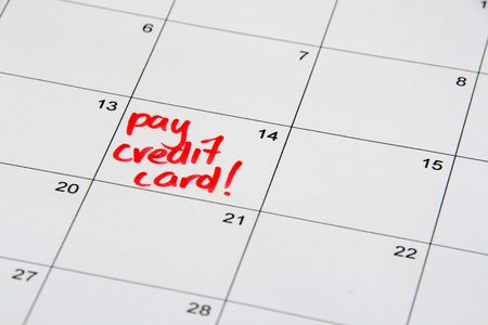 reminding: Note on the calendar reminding to pay off the credit card