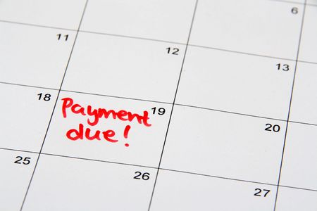 Reminder on the calendar of a due payment Stock Photo - 2102999