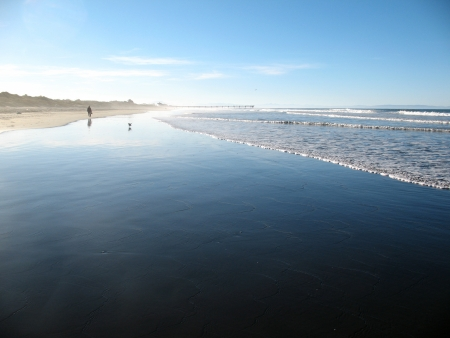 new zealand beach: New Brighton Beach in Christchurch New Zealand