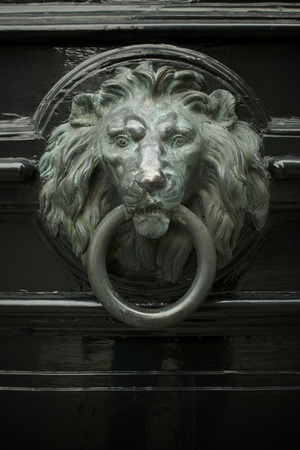 hand guard: Vintage style Lion Door Knocker stock image Stock Photo