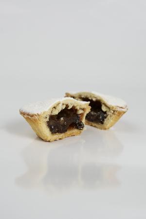 mincemeat: Mince Pie open on white background