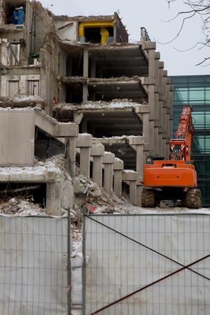 demolishing: building demolishing site