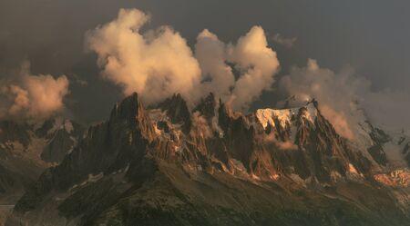 Mountain panorama mont blanc view from white lake