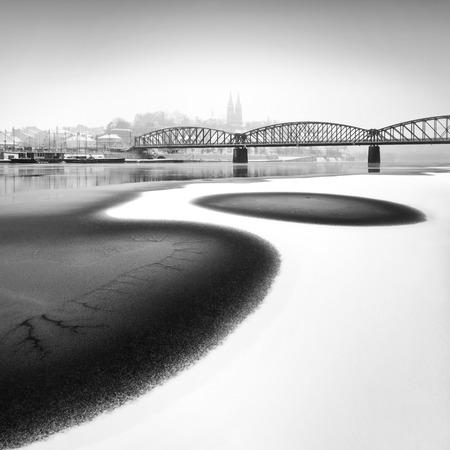 frozen river: Frozen river Vltava near Railway Bridge, Prague, Czech republic. Stock Photo