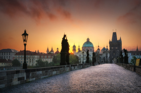 without people: Calm sunrise at Charles bridge without people, Prague, Czech republic