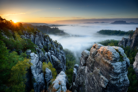 saxon: Amazing foggy sunrise at Bastei, Saxon Switzerland, Germany