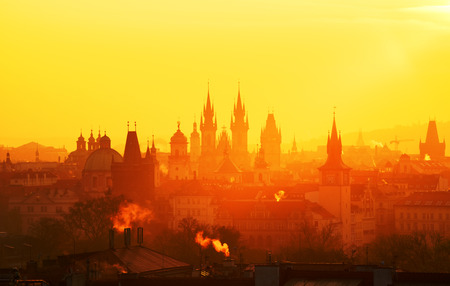 The Gothic church of Our Lady before Tyn during amazing sunrise. City of hundred spires. Beautiful summer morning. Prague, Czech republic