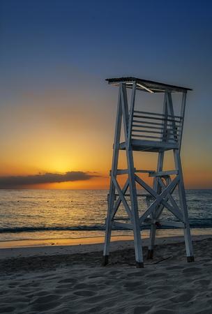 refelction: Amazing sunset over sea at Montego Bay, Jamaica.