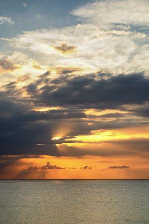 Amazing sunset over sea at Montego Bay, Jamaica.